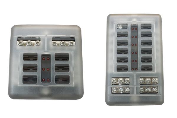 Sicherungshalter für KFZ Flachsicherung mit LED Anzeige 6-Fach oder 12-Fach